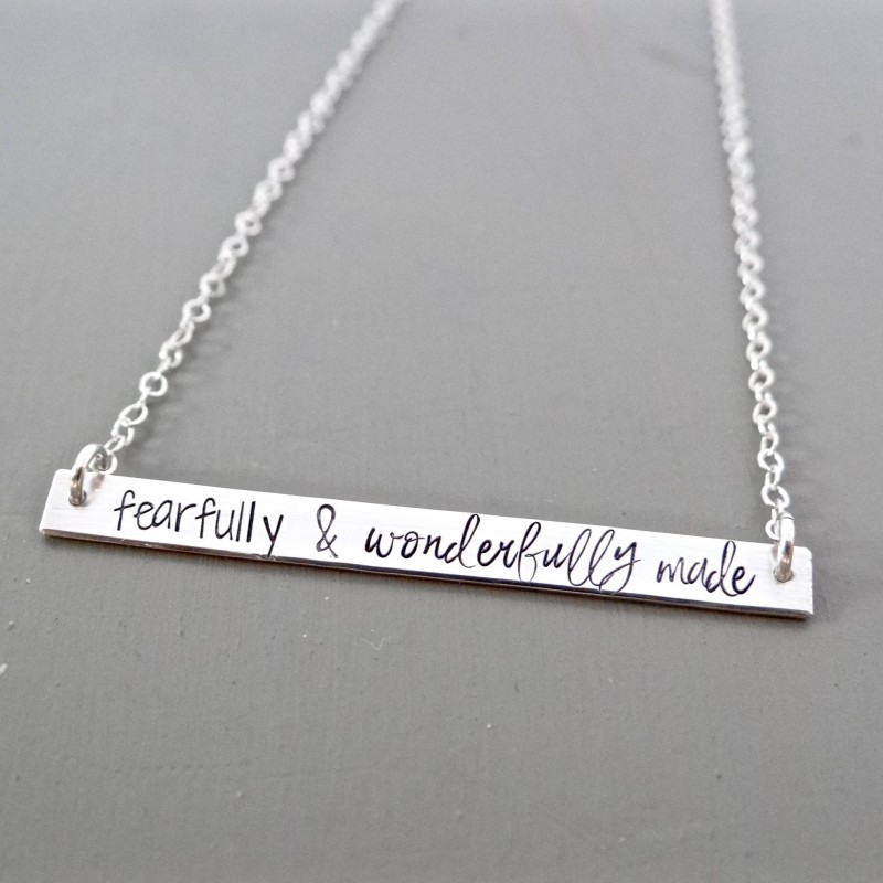 eb2a892a03358 Fearfully & Wonderfully Made - Inspirational Bar Necklace, Name ...