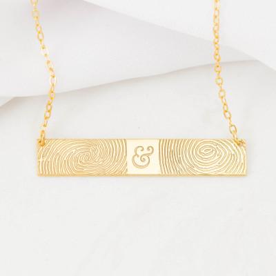FingerPrint Bar Necklace - Custom FingerPrint Jewelry - Memorial FingerPrint - Wedding Gift - Couple Gift - Christmas Gifts for Her