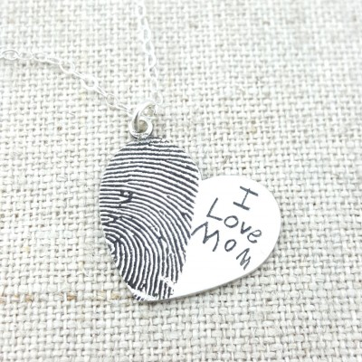 Fingerprint · Jewelry · Personalized Necklace · Gift · Memorial Necklace · ACTUAL Handwriting on Silver · Mom Jewelry