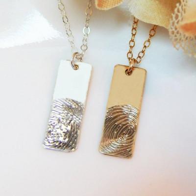 Fingerprint Necklace • Actual Baby Fingerprint • Custom Engraved Keepsake Fingerprint • Family Memorial Jewelry • Wife Push Gift [18-235]