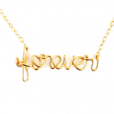 Forever Necklace. Gold Forever Script Wire Necklace. 18k Gold Plated Wire forever script necklace. Infinity Necklace. Lovers Necklace.