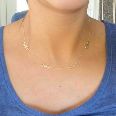 Four Name Necklace , 4 Name Necklace ,Personalized Necklace, Gold Multiple Name Necklace / Name Necklace / Mother's Day Gifts