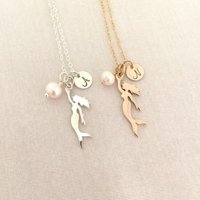 Freshwater Pearl Gold Mermaid Necklace, Sterling Silver Mermaid, Freshwater Pearl, Initial Necklace, Whimsical Jewelry, Little Girl Gift