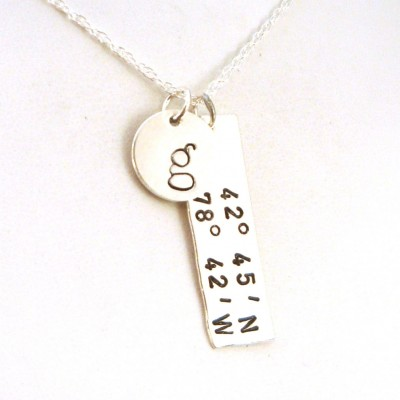 GPS Longitude Latitude Necklace with Initial | Going Away Gift | GPS Sterling Silver Necklace