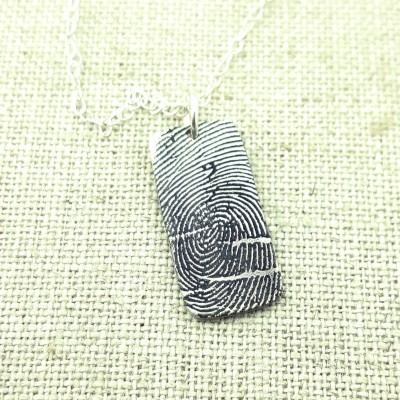 Gift for Women - Jewelry - Finger Print Necklace - Memorial Jewelry - Fingerprint on Silver - Personalized Jewelry - Handwriting Jewelry