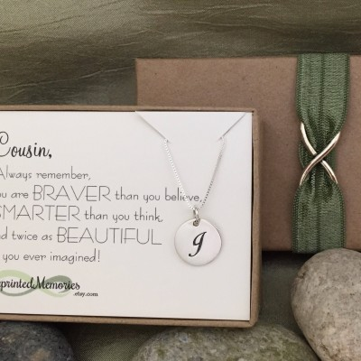Gifts for Cousin Gift - Cousin Jewelry - Sterling Silver Initial Necklace - Cousin Necklace Personalized Gift Birthday Gift Monogram Jewelry