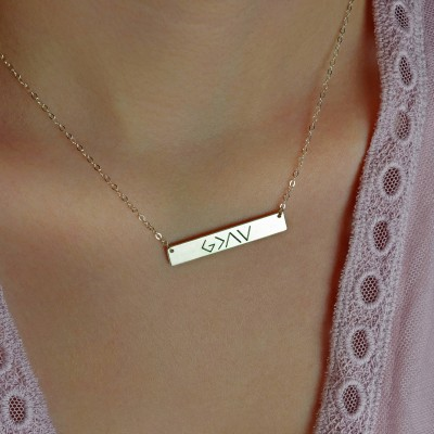 God is greater than the highs and the lows, Personalized Bar Necklace, gold bar necklace, mom gift, bridesmaid gift, silver, rose gold LA104