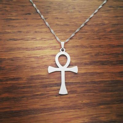 Gold Ankh Necklace / 18k Gold Cross charm / Gold Ankh Pendant / Boho Minimalist Necklace / Egyptian Hieroglyph White Gold Layer Necklace