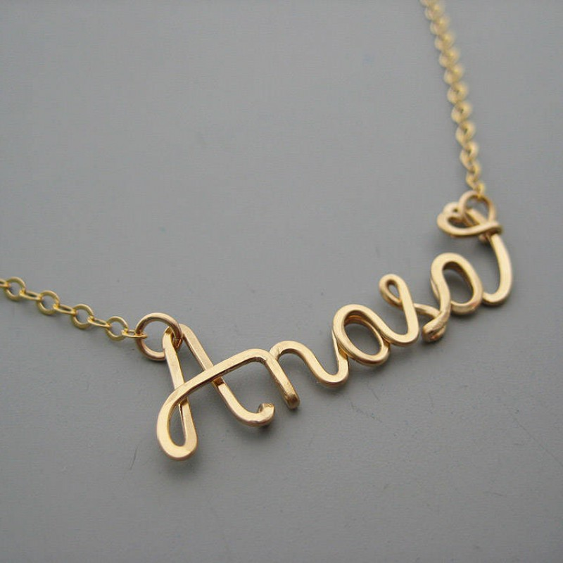 Gold Filled Name Necklace with a Tiny Heart new mom jewelry personalized cursive wire word with delicate chain