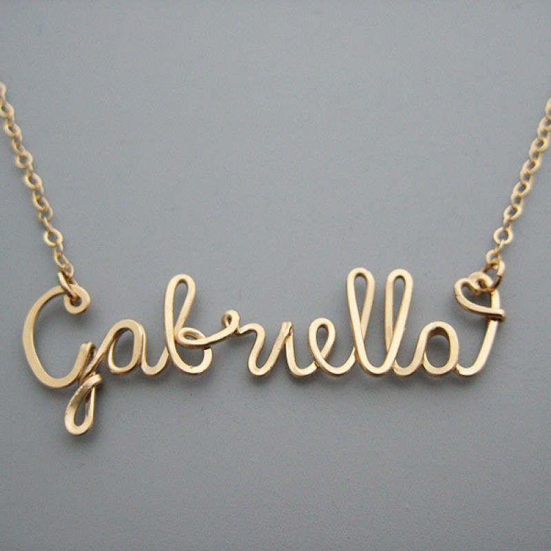 Gold Filled Name Necklace with a Tiny Heart - personalized cursive