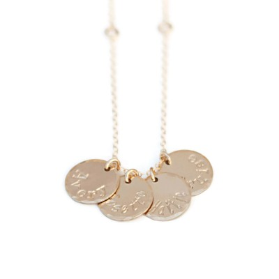 Gold Four Name Mommy Charm Necklace - Gold Plated Disc Mothers Jewelry