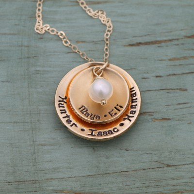 Gold Grandma Necklace Handstamped Gold Mom Necklace • Layered Disc Gold Custom Mom Jewelry Pearl Necklace • Stacked Name Jewelry
