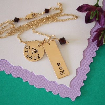 Gold Grandma Necklace Personalized, Grandma Necklace, Gold Necklace, Name Charm