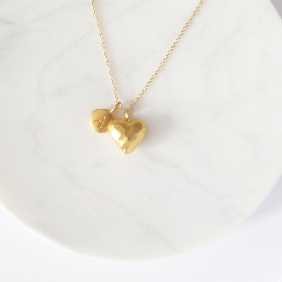Gold Initial & Large Heart Charm Necklace