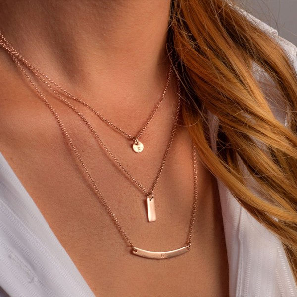 Gold Layered Necklace Set Sterling Silver gold Set of 3 Tiny Disc Personalized women Bar Necklace Custom hand stamped personalized gift