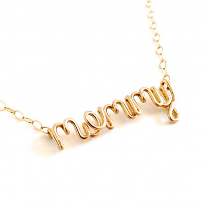 Gold Mommy Necklace. New Mother Mommy Name Necklace in 18k gold fill. Mother's Day Necklace