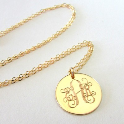 Gold monogram necklace traditional initial pendant 14k gold gold monogram necklace traditional initial pendant 18k gold plated charm aloadofball Gallery