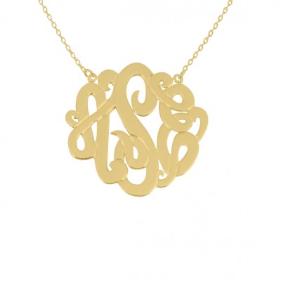 Gold Monogram Necklace 925 Gold Plated Any Initial Monogram Necklace 1.5 inch Gold Monogram Necklace Silver Monogram Necklace