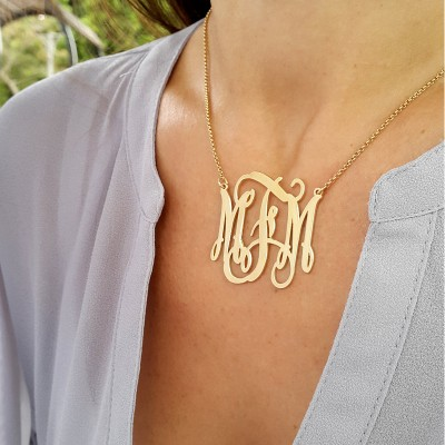 Gold Monogram necklace - 1.5 inch - 18k Gold Plated - Initial Pendant necklace