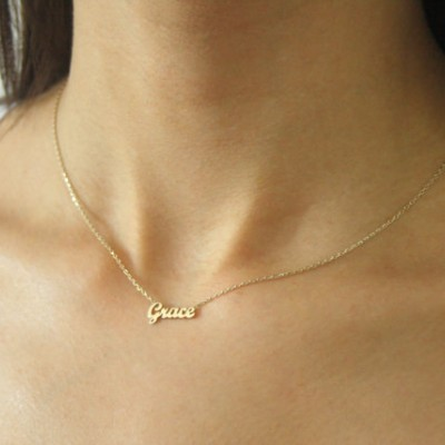 Gold Name Necklace - Tiny Name Necklace - 18k GOLD Necklace ~ Solid Gold Name Necklace ~ Mini Name Necklace - Mother's Day Gift -Bridesmaid