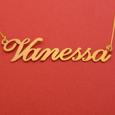 Gold Name Necklace 18k Vanessa Name Necklace Personalizes Name Chain Birthday Gift For Her Nameplate Necklace Trendy Necklace Vanessa Gold