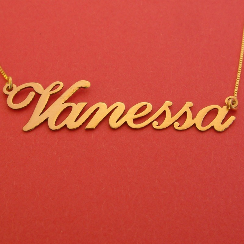Gold Name Necklace 14k Vanessa Name Necklace Personalizes Name Chain