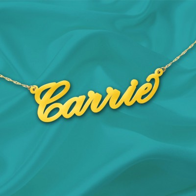 Gold Name Necklace Carrie - 18k Gold Plated Sterling Silver - Personalized Name Necklace - Made in USA