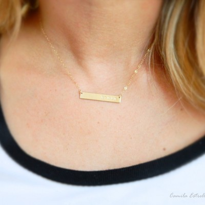 Gold Name Necklace, Custom Necklaces, 18k Gold Chain, Bar Necklace, Nameplate Necklace, Engraved Necklace, Personalized Necklace