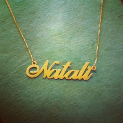 Gold Name Necklace/ Personalized Name Chain/Solid 18k Gold Necklace with name/ Nameplate Necklace/ 18k Yellow Gold Necklace