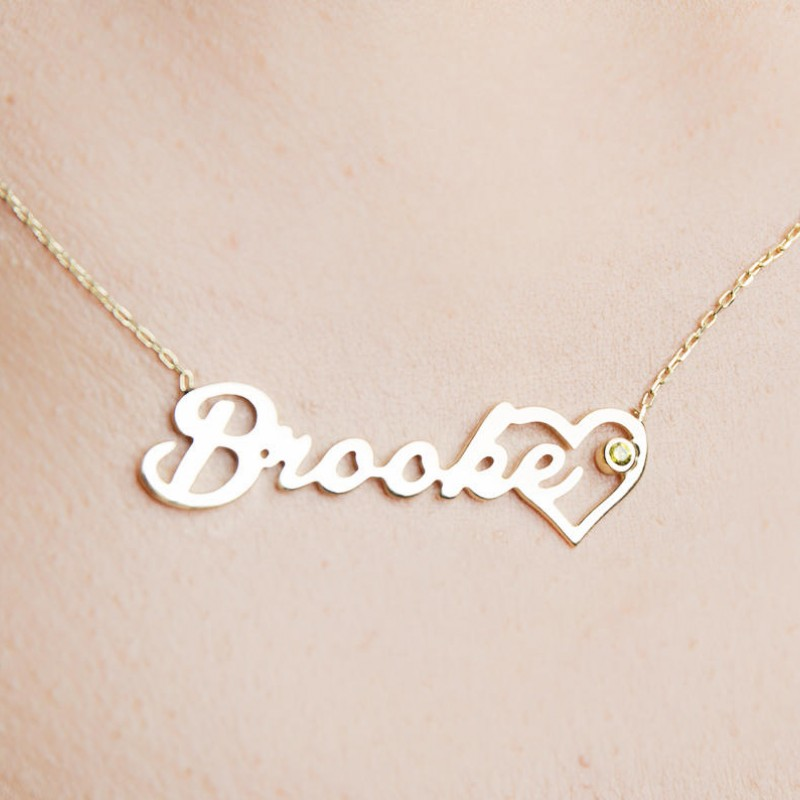gold name necklace with birthstone personalized gift for her