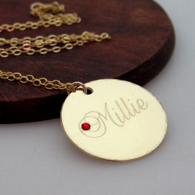 Gold Name Pendant - Personalized Name Necklace - Birthstone Pendant. Birthday Gift for Her. Birthday jewelry. Birthday Necklace Disc Pendant