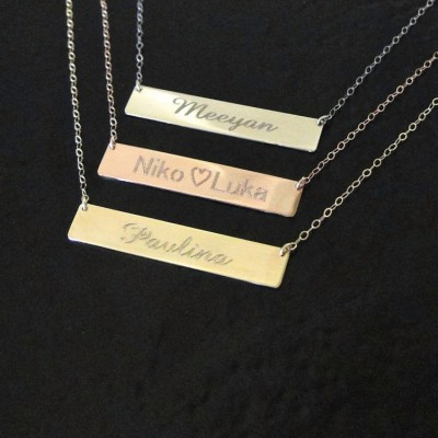 Gold Nameplate Necklace, 18k Gold Bar Necklace, Free Engraving Name Plate As Seen on Kim Kardashian, Yellow White or Rose Gold