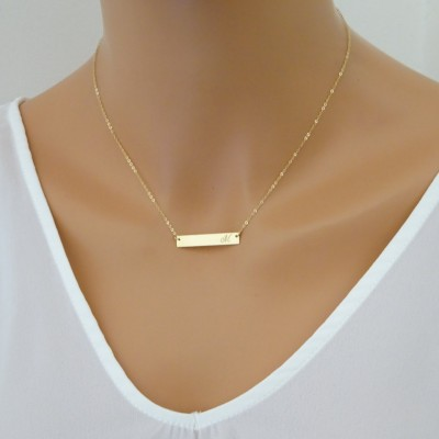Gold bar necklace, Name Necklace, Name Plate Necklace, Initial Necklace, Monogram Necklace, Christmas gift for her