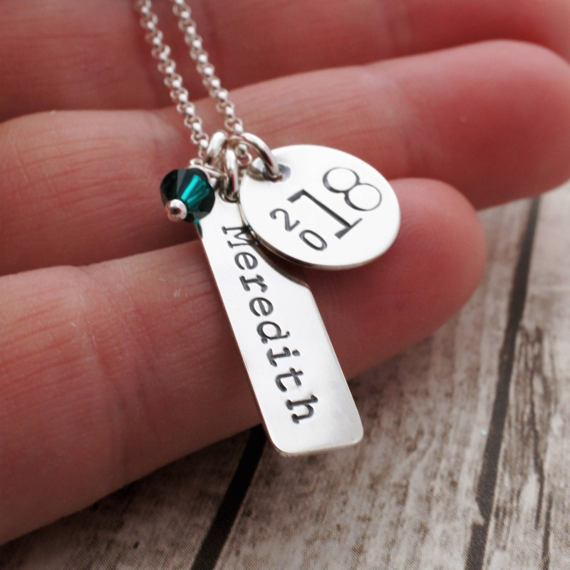 186c020af9423 Graduation Jewelry Gift - Class of 2018 Personalized Necklace - Name ...