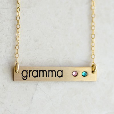 Grandma Birthstone Necklace Bar Gold, Grandmother Birthstone Necklace, Personalized Grandmother Birthstone Necklace Bar, Silver, Rose Gold