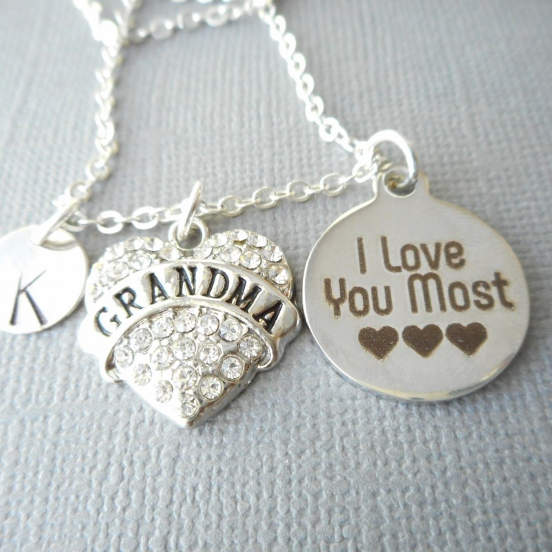 grandma i love you most initial necklace nana gift gifts from daughter from grandkids gift for nana nana gift christmas gift