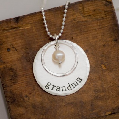 Grandma Necklace with Pearl - Sterling Silver - Hand Stamped Jewelry Necklace - Christmas Gift for Grandma