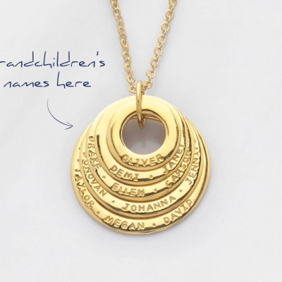 Grandmom necklace • Grandma necklace with names • Engraved circle necklace • Personalized mom necklace • Family necklace CMN10-13