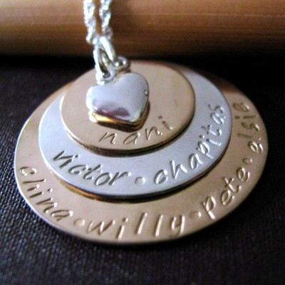 Grandmother Necklace - Gold Mothers Necklace - Hand Stamped Necklace - Personalized Mothers Necklace - Mixed Metal Necklace