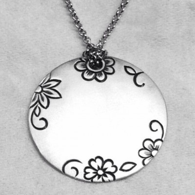 Hand Engraved Sterling Silver Necklace.