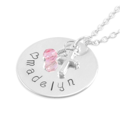 Hand Stamped Name Necklace, little girl gifts, pink, name, cross, personalized baptism necklaces, confirmation gift, niece, birthday MADELYN