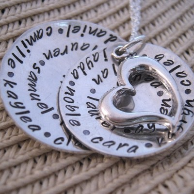 Hand Stamped Necklace - All My Loves Custom Family Necklace - Peronalized Necklace - Grandmother Necklace