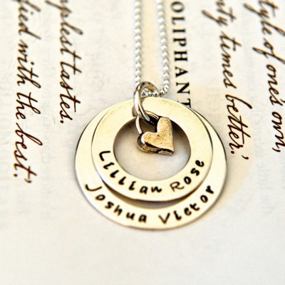 Hand Stamped Necklace, Personalized Jewelry, Mother Jewelry, Layered Washers, Childrens Names, Gift For Mom