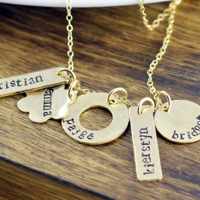 Hand stamped Gold Necklace, Personalized Hand Stamped Necklace, Gold Bar Necklace, Family Necklace, Love Necklace, Gift for Womensake