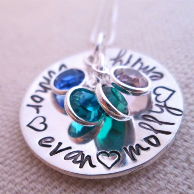 Hand stamped Necklace- Personalized Mother's Necklace - grandmother jewelry - Custom Name Necklace for mom -