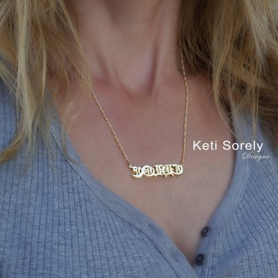 Handmade Gothic Name Necklace - 3 Dimensional Double Name Plate (Order Any Name) - Gothic Jewelry in Sterling Silver, Yellow OR Rose Gold