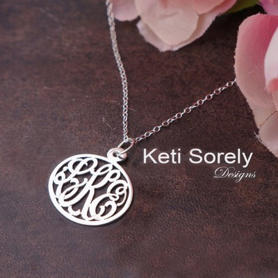 Handmade Oval Monogram Charm Necklace With Personalized Initials - Small To Large Size (Order Any Initials) - Sterling Silver