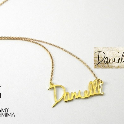 Handmade personalized name necklace - Handwriting jewelry - Signature necklace - 18k Gold plated sterling silver