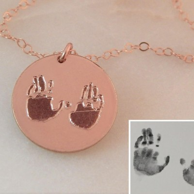 Handprint Necklace • Custom Children's Handprint • Engraved Memorial Keepsake • Baby Handprint • Push Gift • Girlfriend Gift