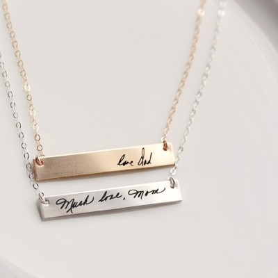 Handwriting Necklace - Custom Handwriting Necklace Engraved Signature Handwriting Gift for Her Signature Necklace, Remembrance Gift Engraved